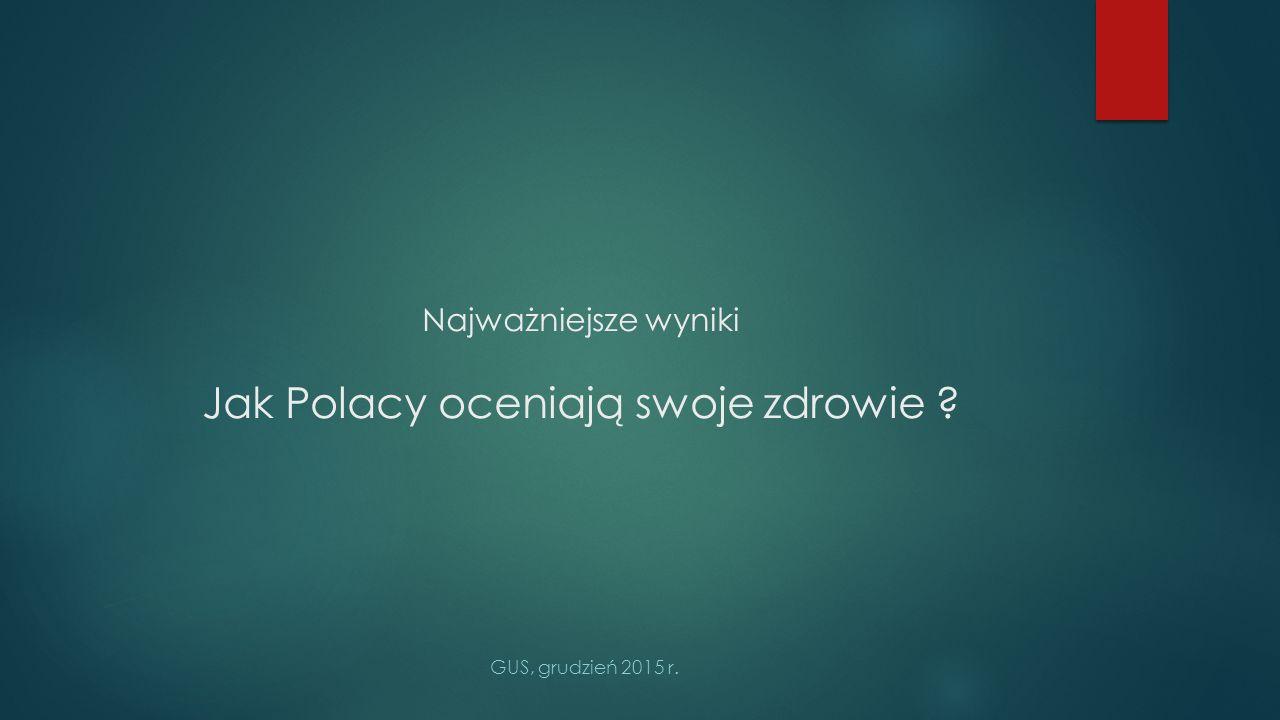 Najważniejsze wyniki Jak Polacy oceniają swoje zdrowie