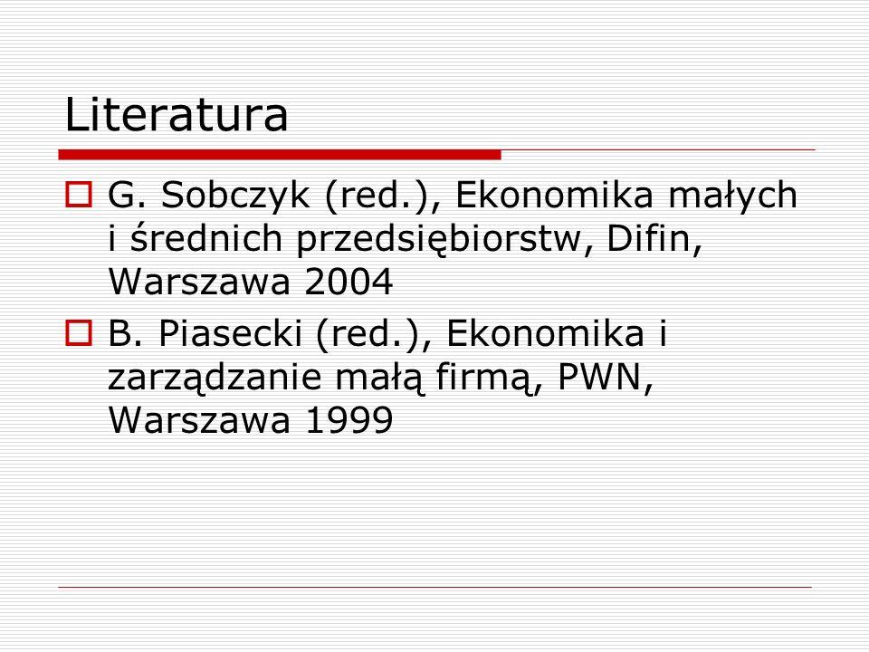 Literatura G. Sobczyk (red.), Ekonomika małych i średnich przedsiębiorstw, Difin, Warszawa 2004.