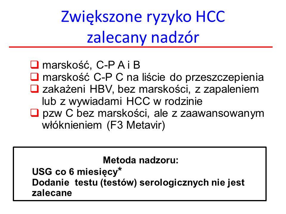 Zwiększone ryzyko HCC zalecany nadzór