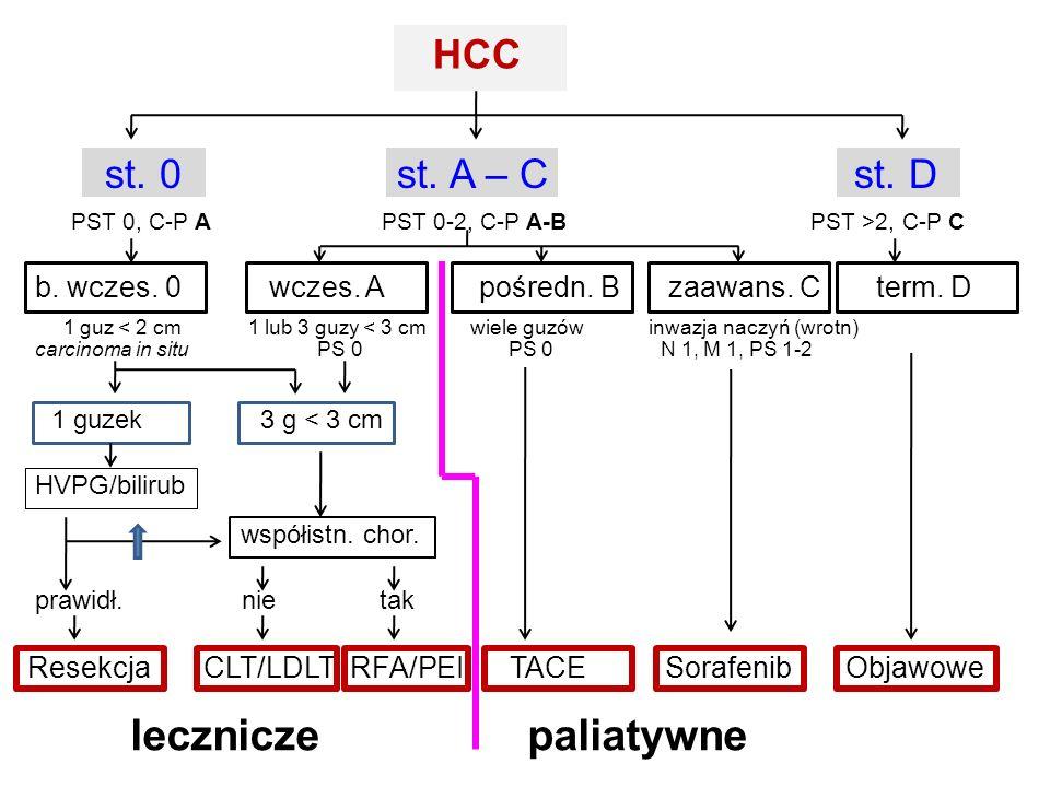lecznicze paliatywne HCC st. 0 st. A – C st. D
