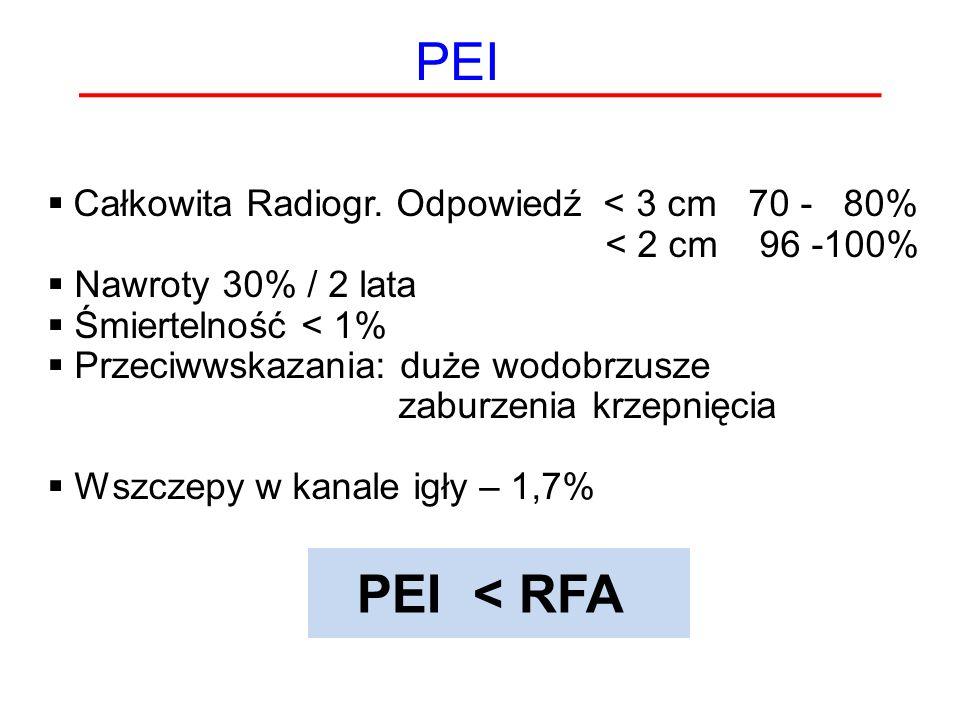 PEI PEI < RFA Całkowita Radiogr. Odpowiedź < 3 cm 70 - 80%