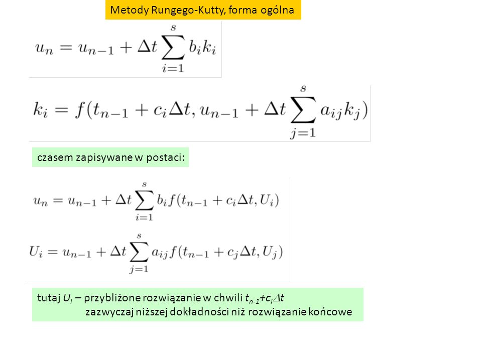 Metody Rungego-Kutty, forma ogólna