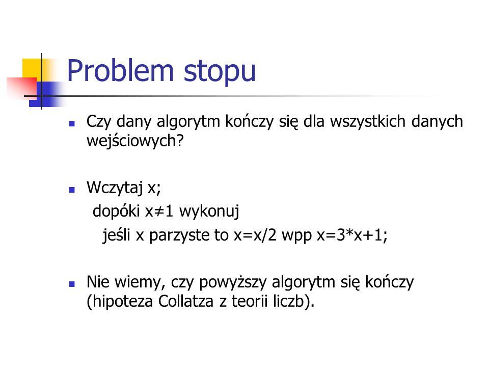 Problem stopu Czy dany algorytm kończy się dla wszystkich danych wejściowych Wczytaj x; dopóki x≠1 wykonuj.