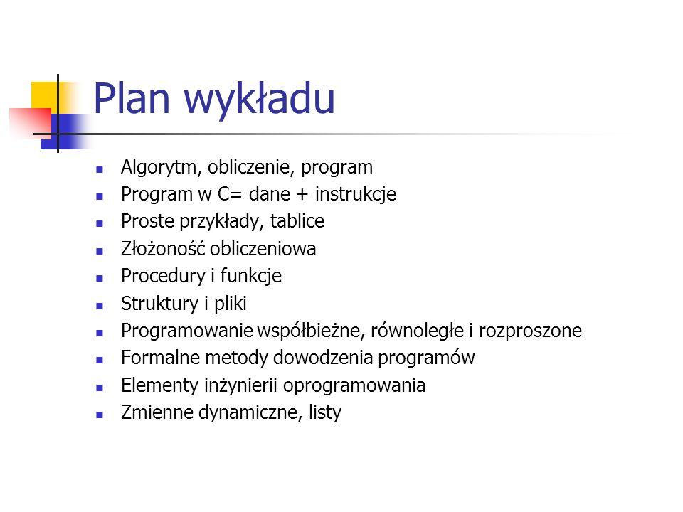 Plan wykładu Algorytm, obliczenie, program
