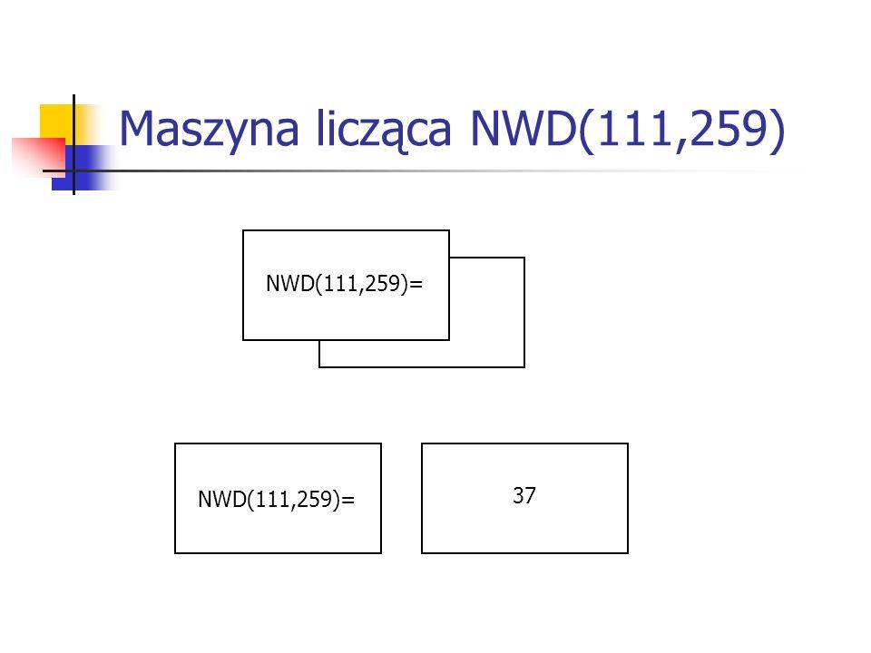 Maszyna licząca NWD(111,259) NWD(111,259)= NWD(111,259)= 37