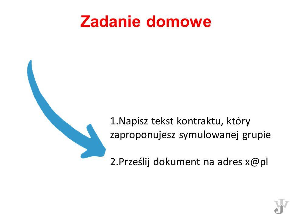Zadanie domowe 1.Napisz tekst kontraktu, który zaproponujesz symulowanej grupie.