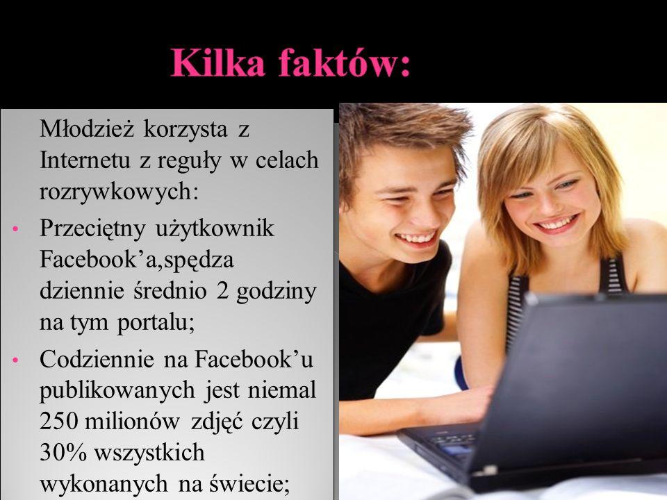 Kilka faktów: Młodzież korzysta z Internetu z reguły w celach rozrywkowych: