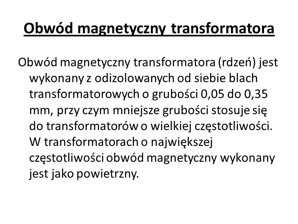 Obwód magnetyczny transformatora