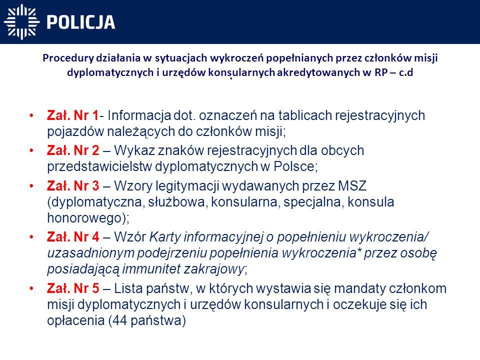 Procedury działania w sytuacjach wykroczeń popełnianych przez członków misji dyplomatycznych i urzędów konsularnych akredytowanych w RP – c.d