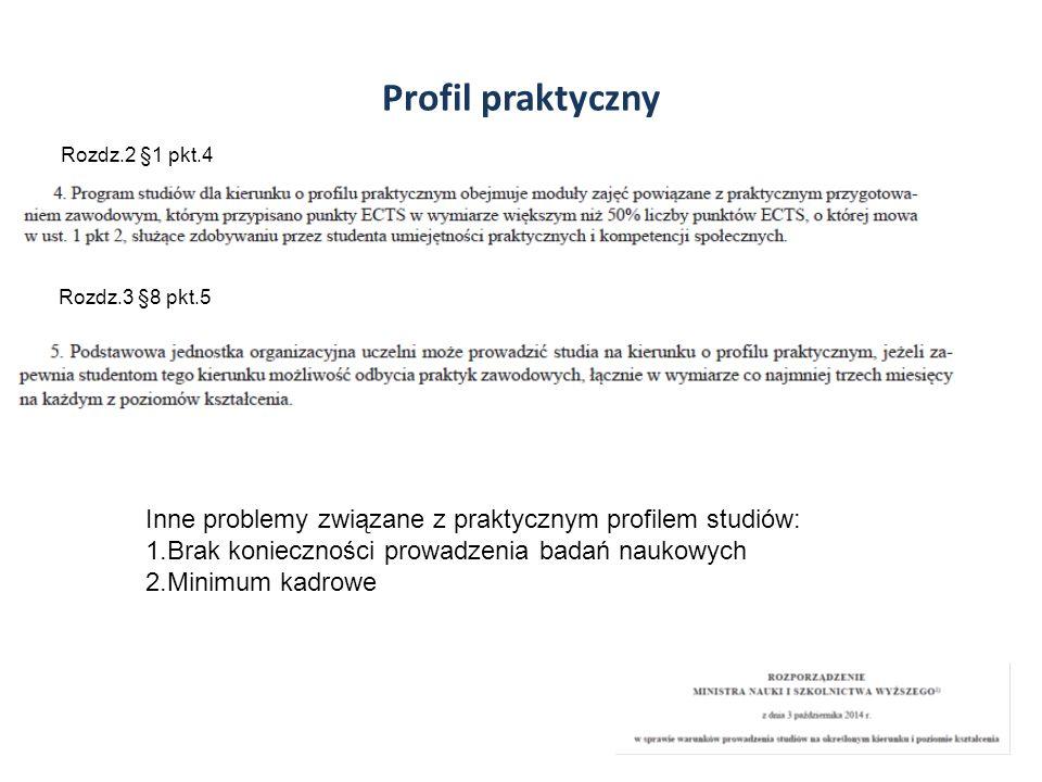 Profil praktyczny Rozdz.2 §1 pkt.4. Rozdz.3 §8 pkt.5. Inne problemy związane z praktycznym profilem studiów: