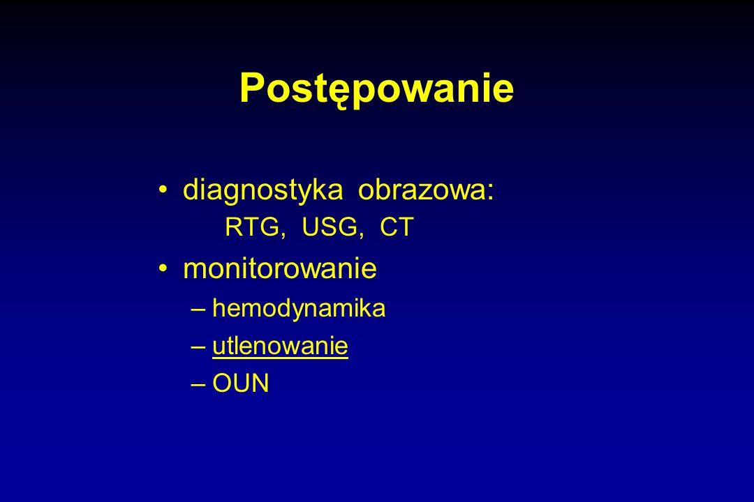 Postępowanie diagnostyka obrazowa: RTG, USG, CT monitorowanie