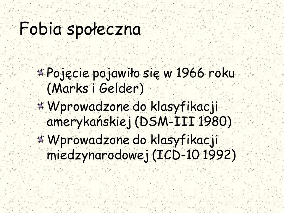 Fobia społeczna Pojęcie pojawiło się w 1966 roku (Marks i Gelder)