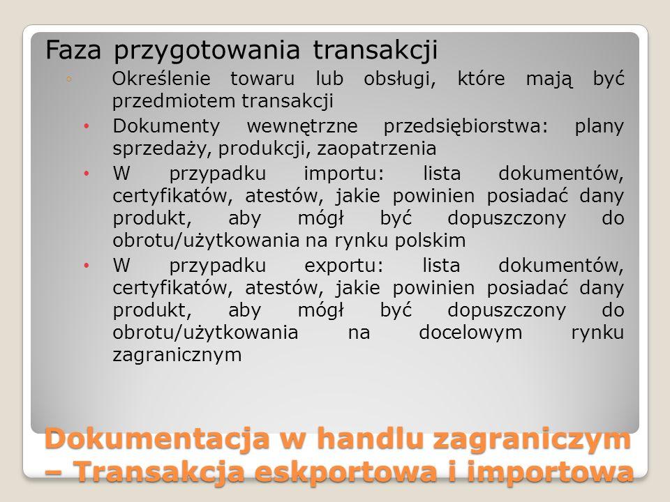 Dokumentacja w handlu zagraniczym – Transakcja eskportowa i importowa