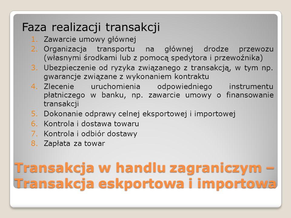 Transakcja w handlu zagraniczym – Transakcja eskportowa i importowa