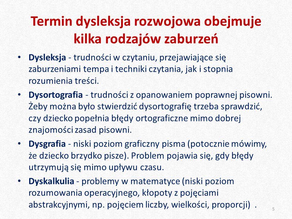Termin dysleksja rozwojowa obejmuje kilka rodzajów zaburzeń