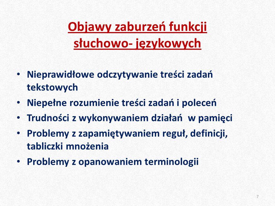Objawy zaburzeń funkcji słuchowo- językowych