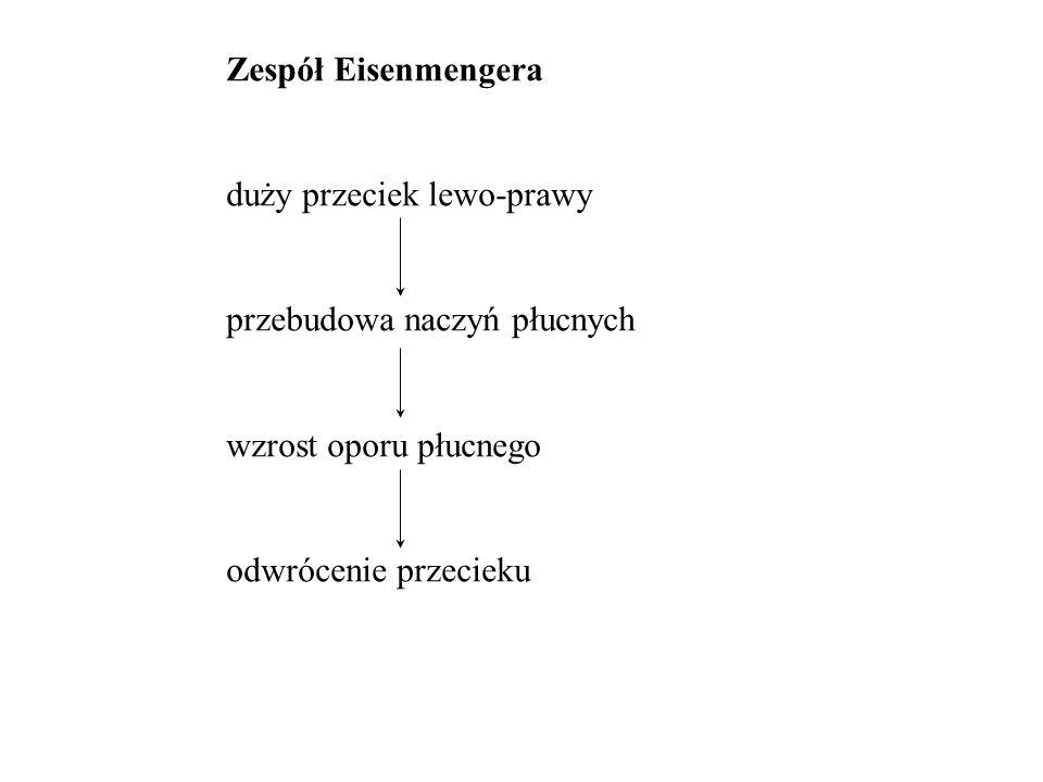 Zespół Eisenmengera duży przeciek lewo-prawy. przebudowa naczyń płucnych.