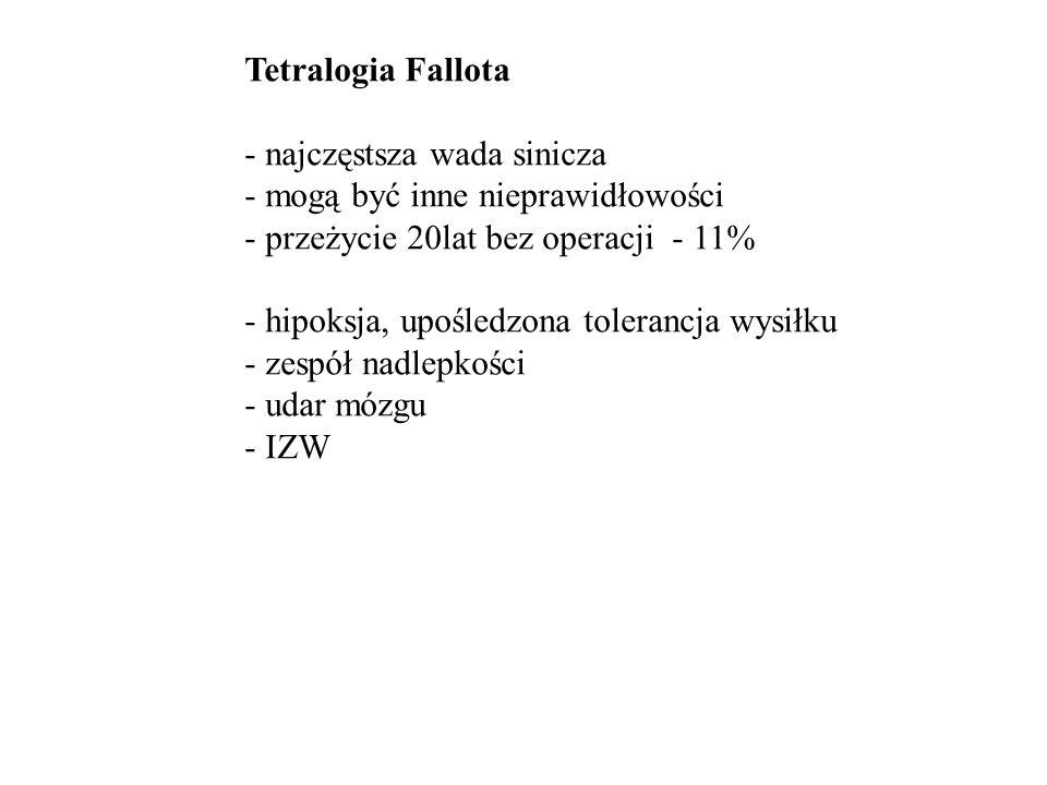 Tetralogia Fallota - najczęstsza wada sinicza. - mogą być inne nieprawidłowości. - przeżycie 20lat bez operacji - 11%