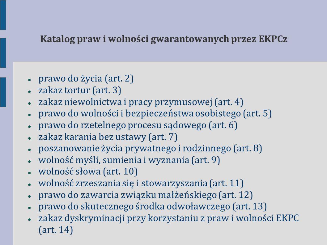 Katalog praw i wolności gwarantowanych przez EKPCz