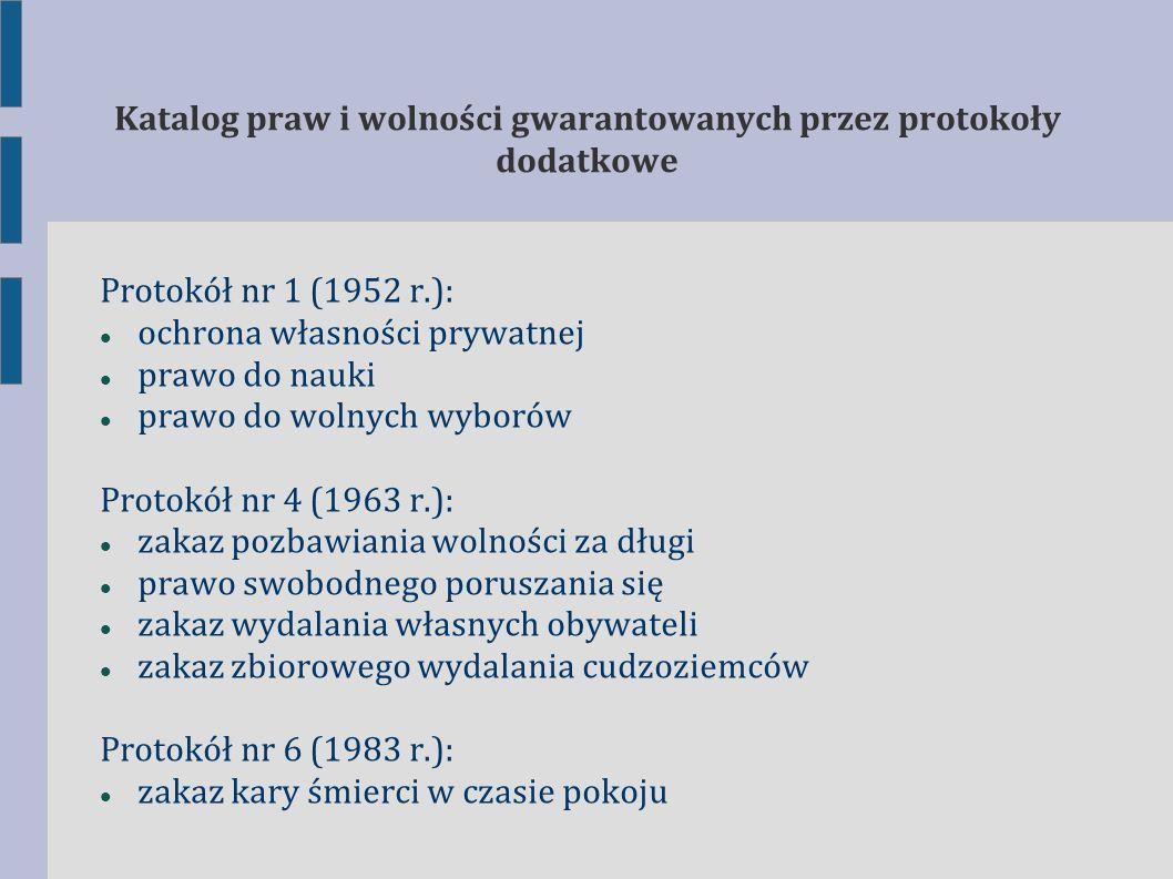 Katalog praw i wolności gwarantowanych przez protokoły dodatkowe