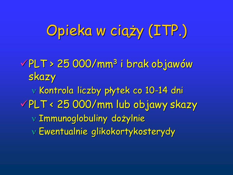 Opieka w ciąży (ITP.) PLT > 25 000/mm3 i brak objawów skazy
