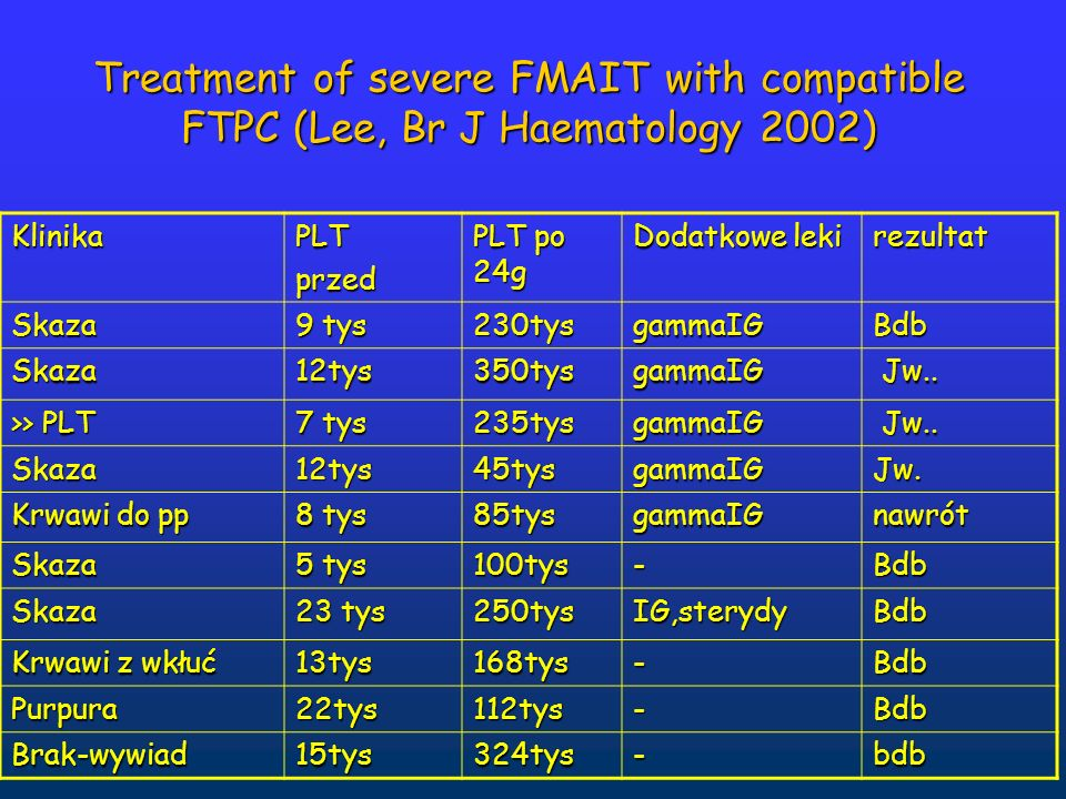 Treatment of severe FMAIT with compatible FTPC (Lee, Br J Haematology 2002)