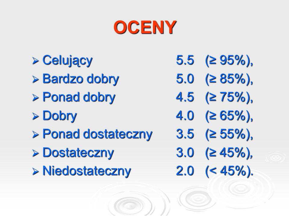 OCENY Celujący 5.5 (≥ 95%), Bardzo dobry 5.0 (≥ 85%),