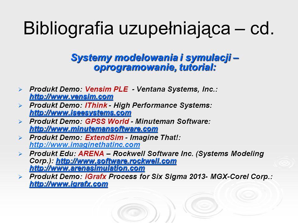 Bibliografia uzupełniająca – cd.