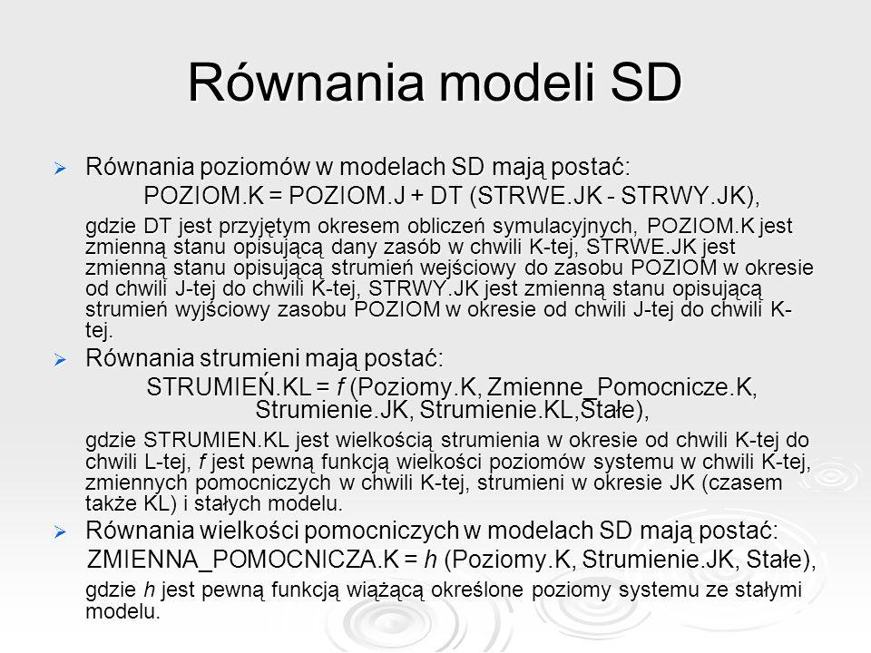 Równania modeli SD Równania poziomów w modelach SD mają postać: