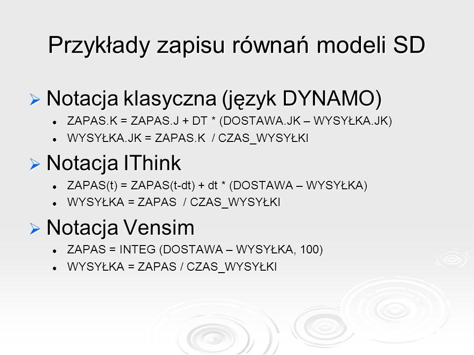 Przykłady zapisu równań modeli SD