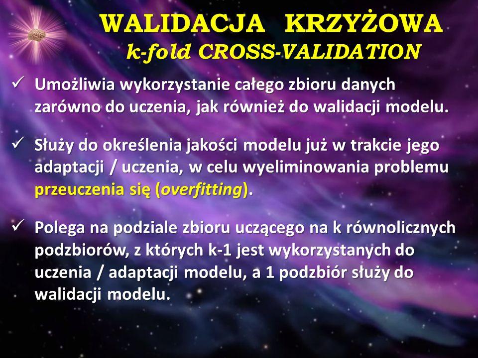 WALIDACJA KRZYŻOWA k-fold CROSS-VALIDATION
