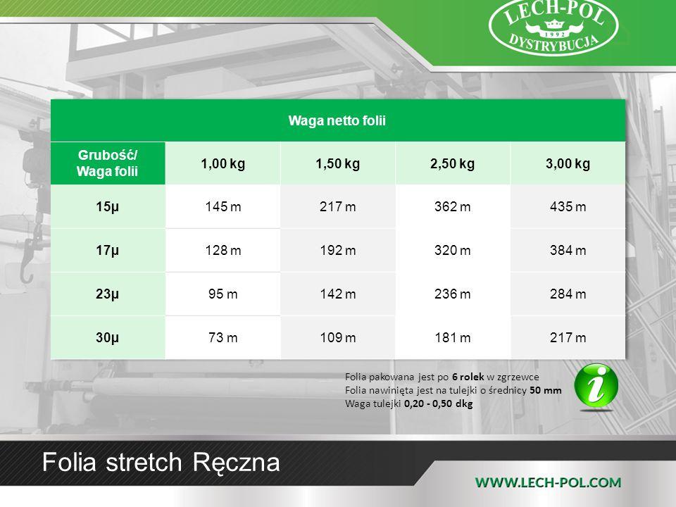 Folia stretch Ręczna Waga netto folii Grubość/ Waga folii 1,00 kg