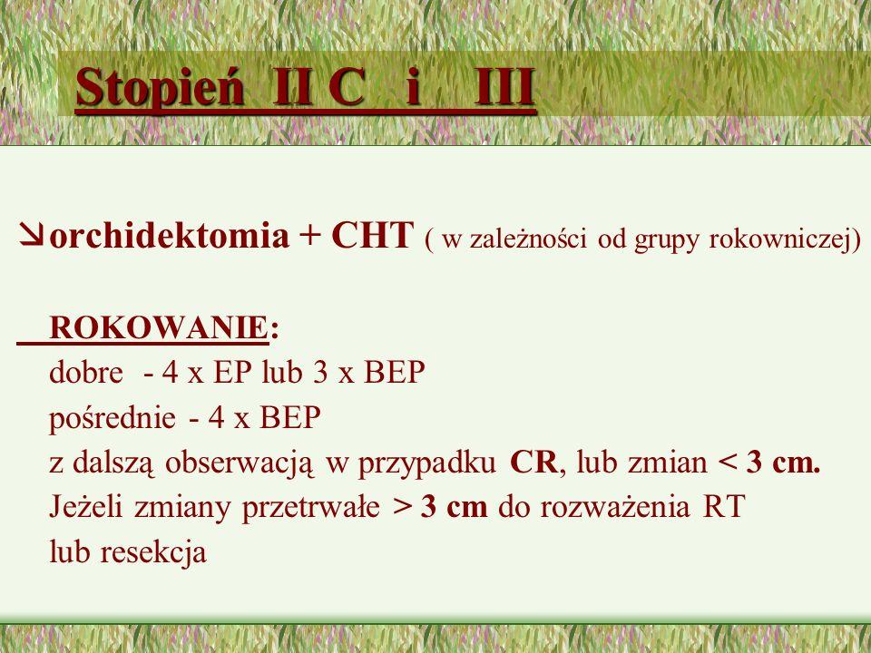 Stopień II C i III orchidektomia + CHT ( w zależności od grupy rokowniczej) ROKOWANIE: dobre - 4 x EP lub 3 x BEP.