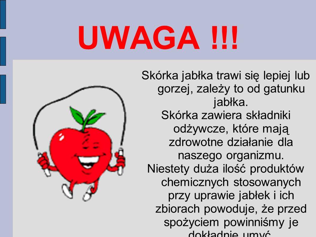 UWAGA !!! Skórka jabłka trawi się lepiej lub gorzej, zależy to od gatunku jabłka.