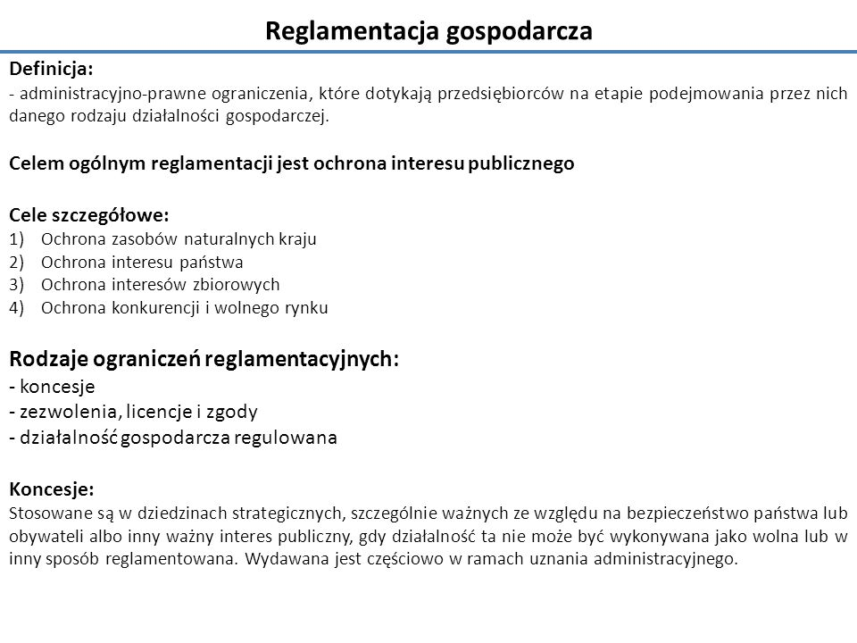 Reglamentacja gospodarcza