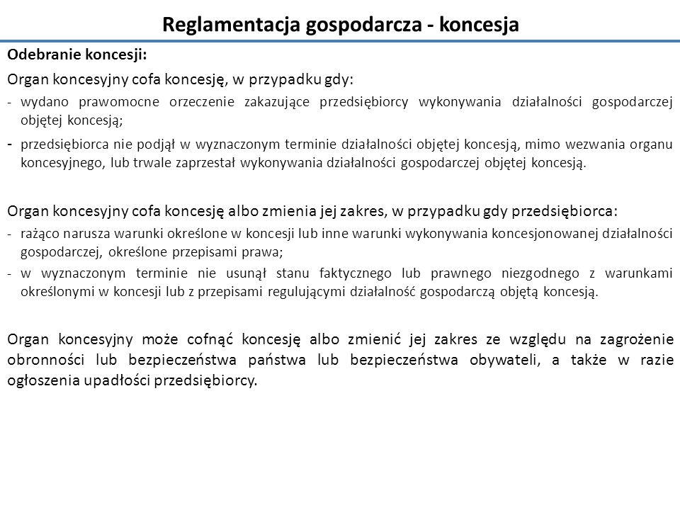 Reglamentacja gospodarcza - koncesja