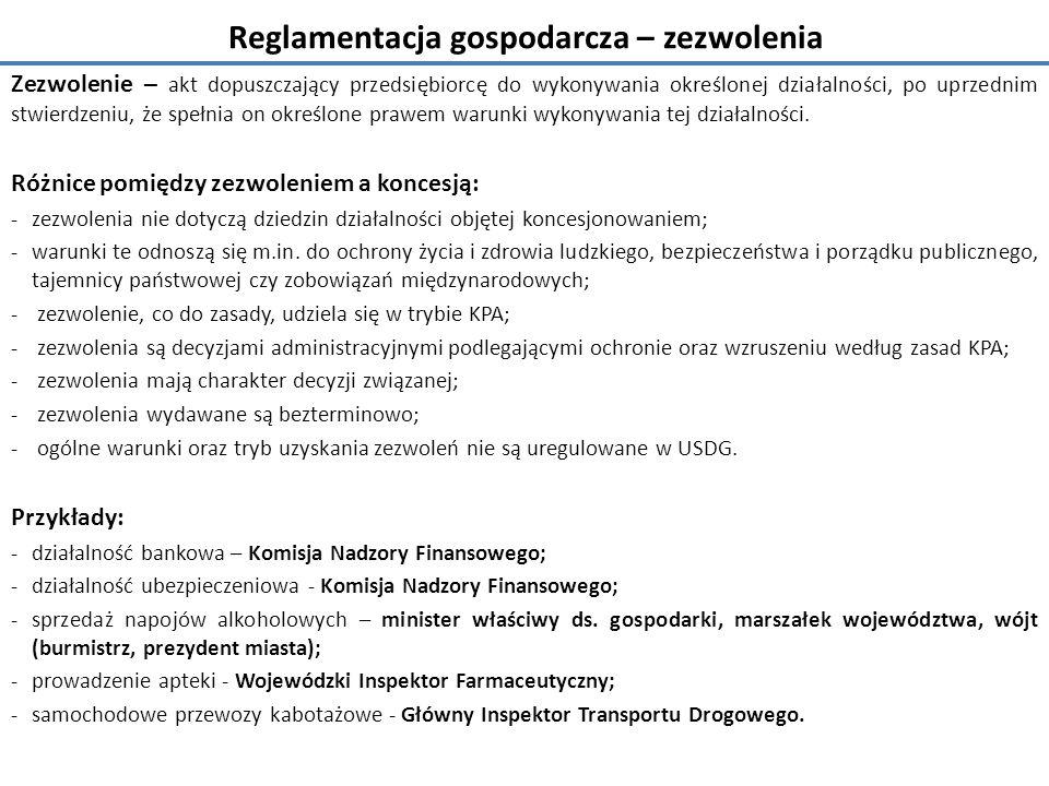 Reglamentacja gospodarcza – zezwolenia
