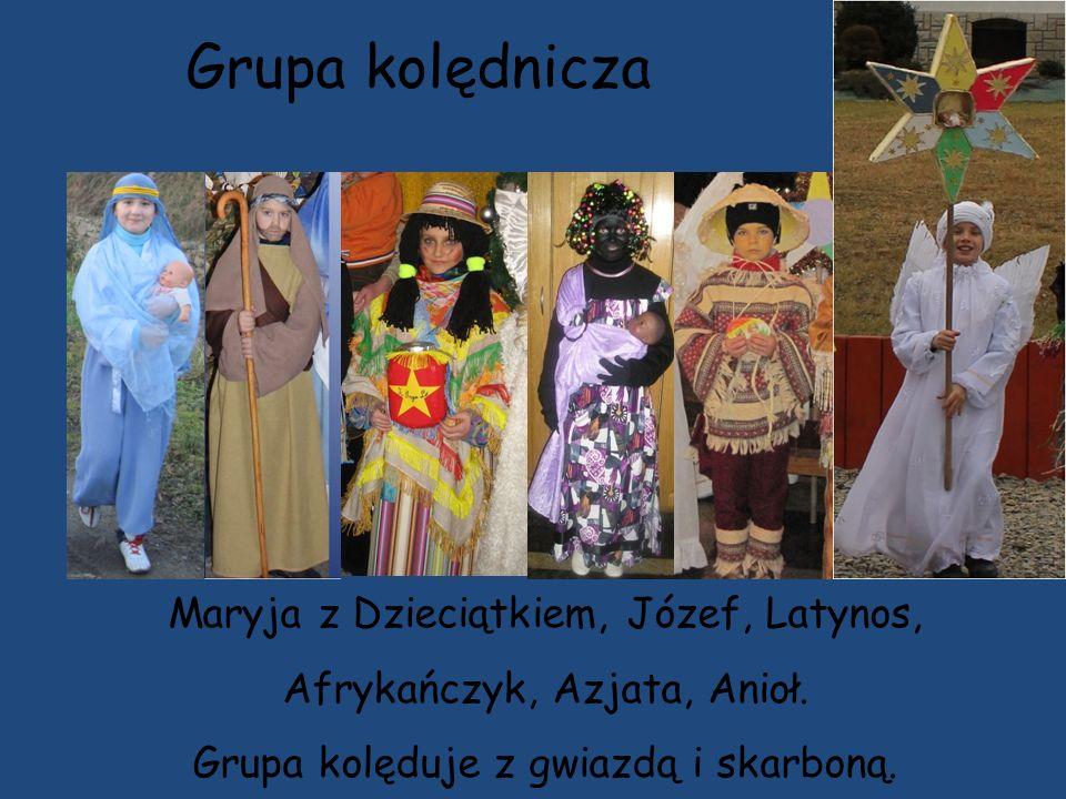 Grupa kolędnicza Maryja z Dzieciątkiem, Józef, Latynos, Afrykańczyk, Azjata, Anioł.