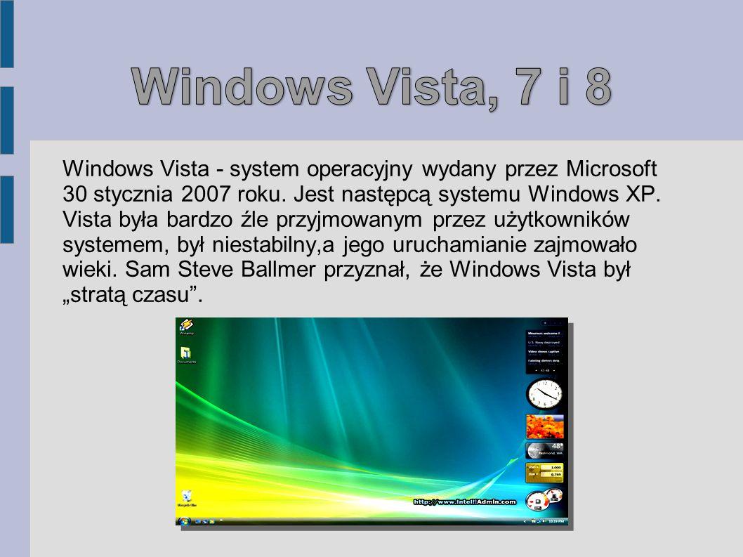 Windows Vista, 7 i 8 Windows Vista - system operacyjny wydany przez Microsoft.
