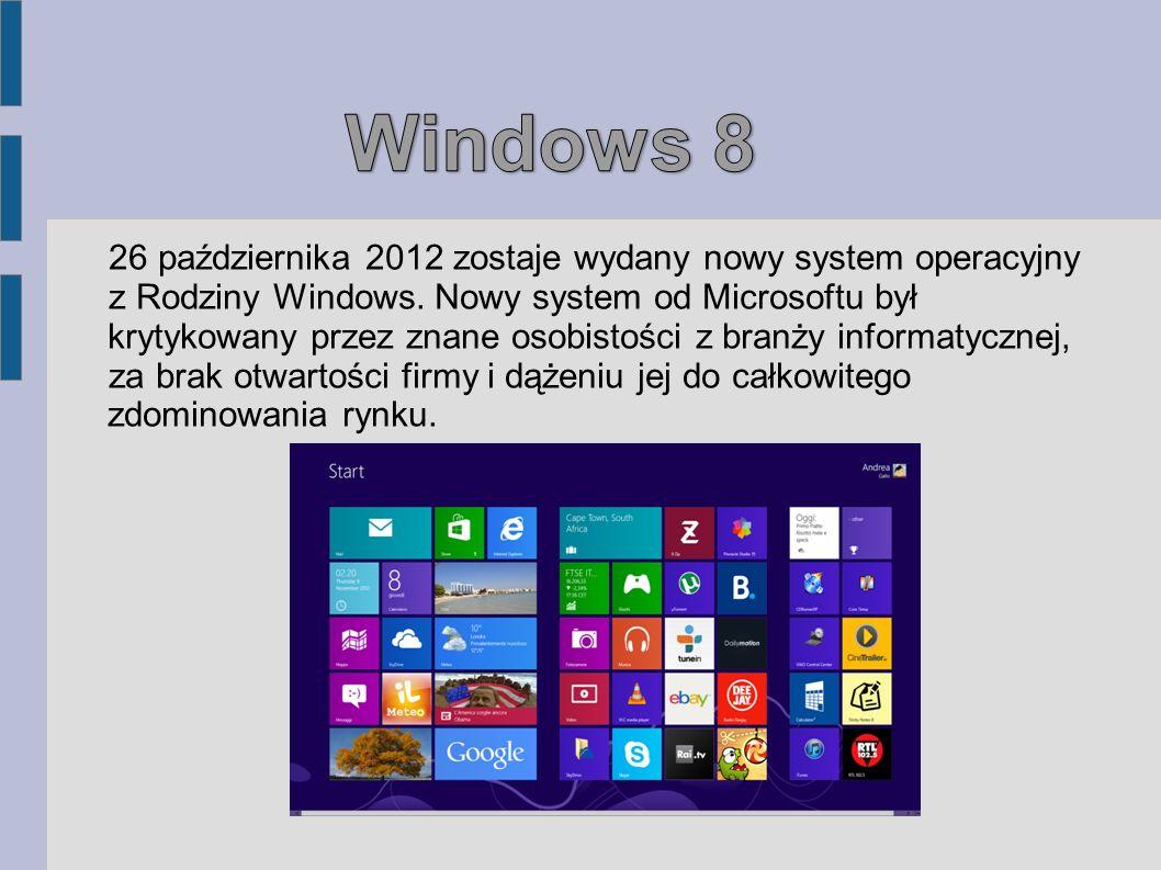 Windows 8 26 października 2012 zostaje wydany nowy system operacyjny