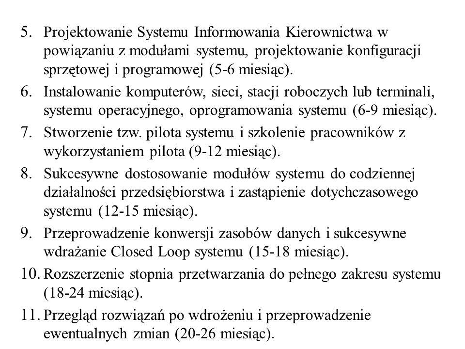 Projektowanie Systemu Informowania Kierownictwa w powiązaniu z modułami systemu, projektowanie konfiguracji sprzętowej i programowej (5-6 miesiąc).