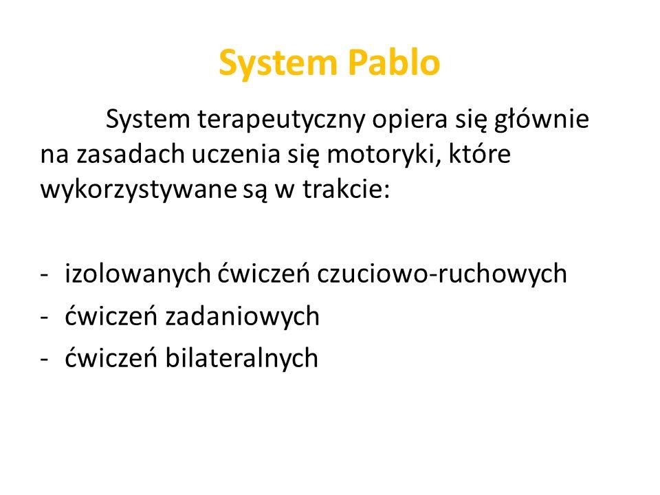 System Pablo System terapeutyczny opiera się głównie na zasadach uczenia się motoryki, które wykorzystywane są w trakcie: