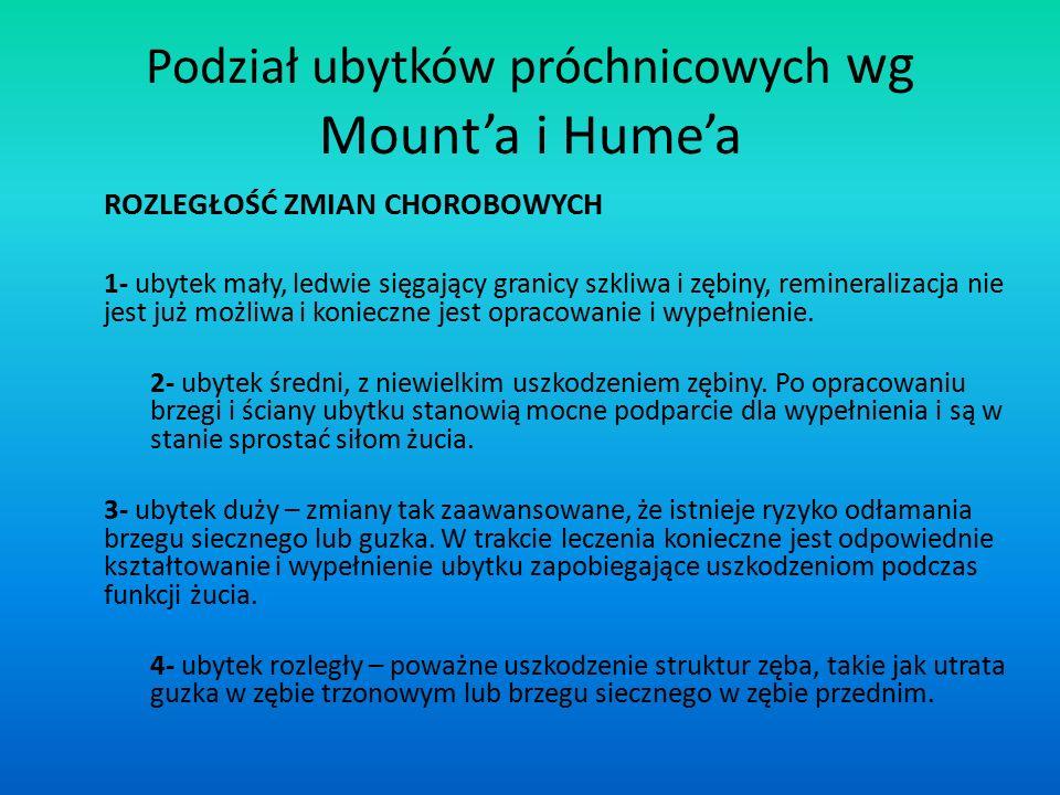 Podział ubytków próchnicowych wg Mount'a i Hume'a