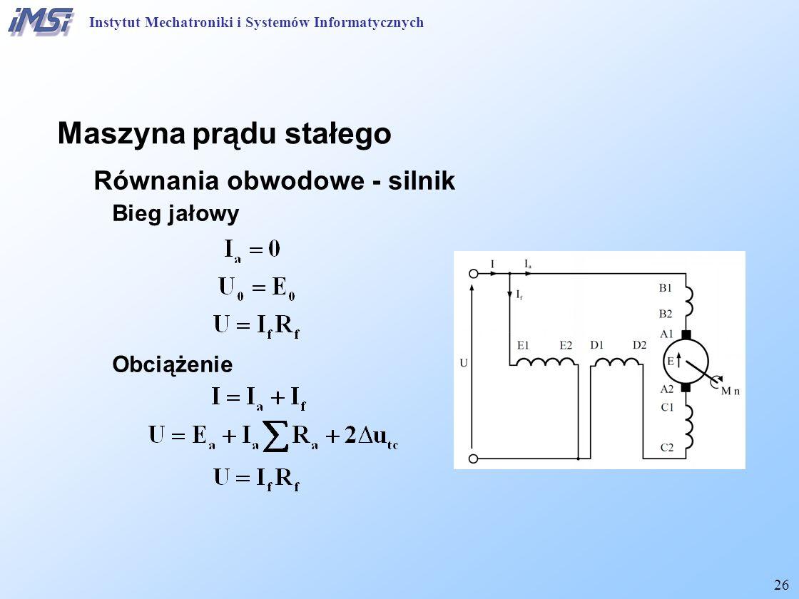 Maszyna prądu stałego Równania obwodowe - silnik Bieg jałowy