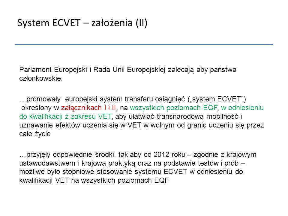 System ECVET – założenia (II)