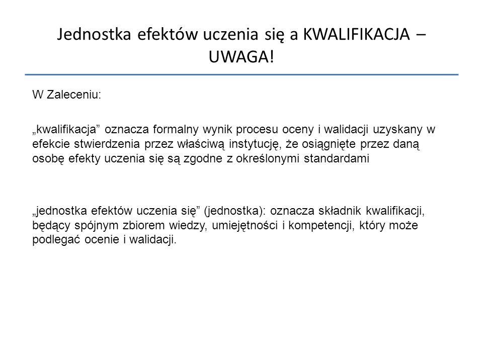 Jednostka efektów uczenia się a KWALIFIKACJA – UWAGA!