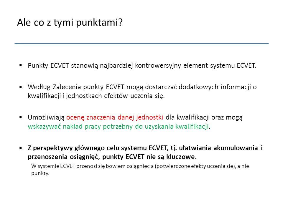 Ale co z tymi punktami Punkty ECVET stanowią najbardziej kontrowersyjny element systemu ECVET.