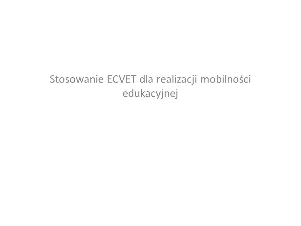 Stosowanie ECVET dla realizacji mobilności edukacyjnej