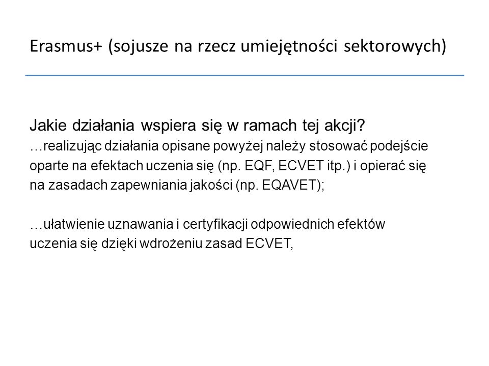 Erasmus+ (sojusze na rzecz umiejętności sektorowych)