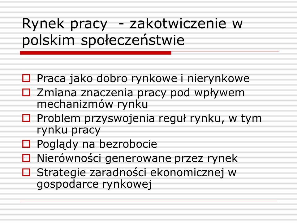 Rynek pracy - zakotwiczenie w polskim społeczeństwie